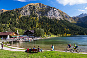 Lake Vilsalpsee in fall, Drei Seen Tour, Tannheim Valley, Alps, Austria, Europe