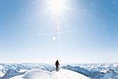 Man on ridge of the Grossvenediger, Hohe Tauern, Tyrol, Austria