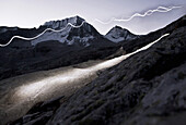 Ascent to the Hochgall, headlamps in the dawn, Kassler Hut, Rain in Taufers, Bozen, South Tirol, Italy