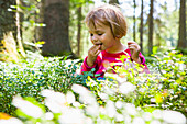 Girl eating blueberries in forrest, Plankenstein hut, Plankenstein, Rottach-Egern, Bavaria, Germany
