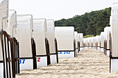 Beach chairs in a row on the beach, Sellin, Ruegen, Mecklenburg-West Pomerania, Germany