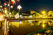 Malerische Stadt Hoi An bei Nacht, Zentralvietnam, Vietnam, Asien