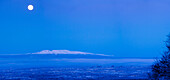 Scenic view of the full moon over Mt. Susitna during Winter, Anchorage, Southcentral, Alaska, HDR, {Digitally Altered}