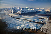 Aerial of Knik & Colony Glacier Matanuska Valley Chugach Mountains Southcentral Alaska Summer