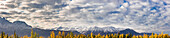 Panoramic view of the snowcapped Chugach Mountains as seen from Palmer, Southcentral Alaska, Fall