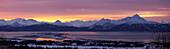 Panorama of Homer & Homer Spit @ sunrise w/Kenai Mountains Kenai Peninsula Alaska Winter Composite