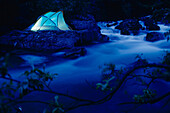 Lighted Tent by Liberty Creek @ Night Southcentral Alaska/nsummer