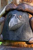 Raven Head Symbol on Totem Totem Park Nat.Monument AK SE Sitka Digital