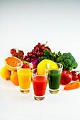 orange juice, tomato juice, greenvegetablejuice, fruit, vegetables