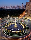 Columbus Circle at Night, High Angle View, NYC, USA