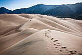 Two People Leaving Footprints in Sand Dunes, Colorado, USA