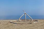 Sculpture on beach made of driftwood at East Beach Park on Marrowstone Island, Salish Sea, Puget Sound, Washington