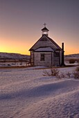 Drumheller, Alberta, Canada, Exterior Of Small Chapel In Winter Sunset