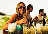 Enjoying Drinks At The Bar On Valdevaqueros Beach, Tarifa, Cadiz, Andalusia, Spain