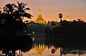 View on the Shwedagon Pagoda from Kandawgyi lake, Yangon, Myanmar, Burma, Asia