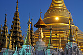 Tops of the roofs and the Shwedagon Pagoda, Yangon, Myanmar, Burma, Asia
