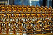 Little Buddha statues in the Shwedagon Pagoda, Yangon, Myanmar, Burma, Asia
