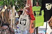 Tshirts with Aung San Suu Kyi at Bagyoke Aun San Market, Yangon, Myanmar, Burma, Asia