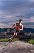 Man running, Linz, Upper Austria, Austria