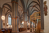 Aisle and nave of St. Martini church, medieval church, Brunswick, Lower Saxony, Germany