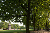 Monument with park lawn surrounded by chestnut trees, Lion wall, Green belt Brunswick, Lower Saxony, Germany