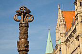 Column of Christianity infront of Dankwarderode castle, sculpure from sculptor Juergen Weber, History of Christianity, Brunswick, Lower Saxony, Germany