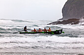 blocked for illustrated books in Germany, Austria, Switzerland: Surf boat competition at Piha Beach, Day of the Giants, North Island, New Zealand