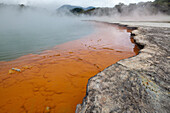 blocked for illustrated books in Germany, Austria, Switzerland: Champagne Pool, geothermal pool with carbon-dioxide bubbles, Waio-tapu crater lake, near Rotorua, North Island, New Zealand