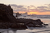blocked for illustrated books in Germany, Austria, Switzerland: Sunset at the rocky foreshore at Kaipakati Point, Woodpecker Bay, West coast, New Zealand