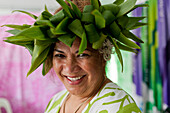 Woman wearing a headdress at the Pasifika Festival in Auckland, North Island, New Zealand