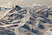 Aerial view of skiing slopes, Coronet Peak near Queenstown, Otago, South Island, New Zealand