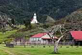 St Gabriel's church, white Maori church in the remote rural area of North Hokianga, Marae, Whangape Harbour, Northland, North Island, New Zealand