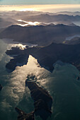 Aerial view of bays and islands, Marlborough Sounds, South Island, New Zealand