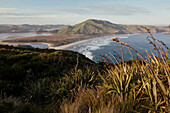 View across Otago Peninsula with Allans beach and Hoopers Inlet, Dunedin, Otago, South Island, New Zealand