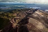 Aerial view of Mt Tarawera volcano, giant lava crevice, Rotorua, North Island, New Zealand