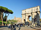 Arch of Constantine in front of Roman Forum, Arch of Constantine, UNESCO World Heritage Site Rome, Rome, Latium, Lazio, Italy