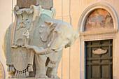 Marble elephant carrying obelisk, sculpture by artist Bernini, Piazza della Minerva, UNESCO World Heritage Site Rome, Rome, Latium, Lazio, Italy