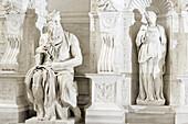 Michelangelo's statue of Moses, part of the tomb of Pope Julius II, artist Michelangelo, interior, San Pietro in Vincoli, UNESCO World Heritage Site Rome, Rome, Latium, Lazio, Italy