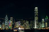 Hong Kong skyline at night, Hong Kong, China, Asia