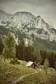 Mountain hut and mountain range at country park Logarska Dolina, Alps, Stajerska, Slovenia
