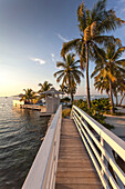 Wooden bridge leading to sandy island, Hotel Resort Casa Morada, Islamorada, Florida Keys, Florida, USA