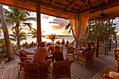 Restaurant DINING ROOM at sunset, Little Palm Island Resort, Florida Keys, USA