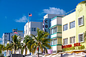 Impression on Ocean Drive with Art Deco architecture, South Beach, Miami, Florida, USA