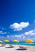 Beach with sunshades, South Beach, Miami, Florida, USA