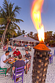 Guests having dinner in restaurant Morada Bay, Islamorada, Florida Keys, Florida, USA