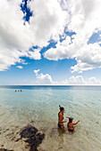 Two young girls snorkelling, beach at Bahia Honda State Park, Florida Keys, USA
