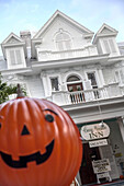 Typical Conch House, Bed and Breakfast, architecture unique to Key West, with Halloween pumpkin display, Key West, Florida Keys, Florida, USA