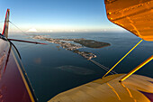 Aerial view of the islands of Florida Keys seen from a biplane, Florida, USA