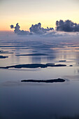 Aerial view of the islands of Florida Keys after sunset, Florida, USA