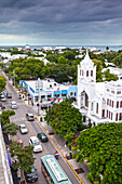 Aerial view of Key West with St. Pauls Episcopal Church in the foreground, Key West, Florida Keys, USA